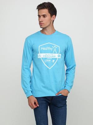 Лонгслив голубой с принтом | 5443725