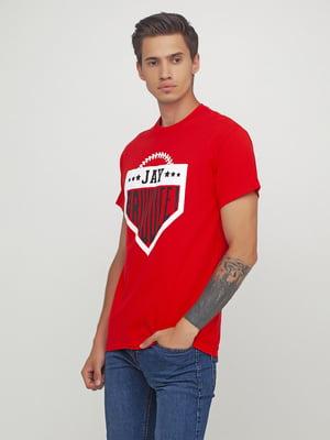 Футболка червона з принтом | 5443728