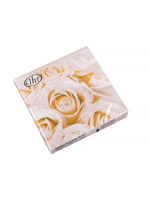 Набір серветок «Білі троянди» (20 шт., 32x32 см) | 5443424