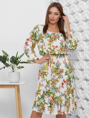 Платье белое в цветочный принт | 5444101