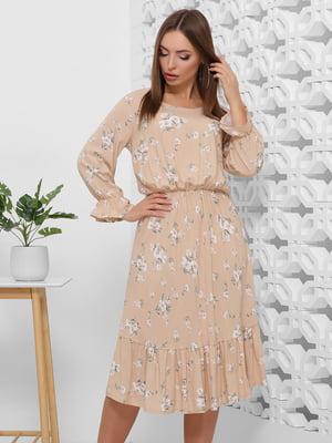 Платье бежевое в цветочный принт | 5444102