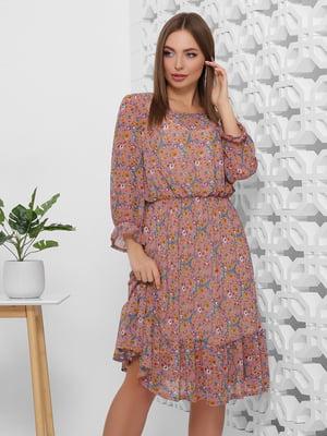 Платье сливового цвета в цветочный принт | 5444110