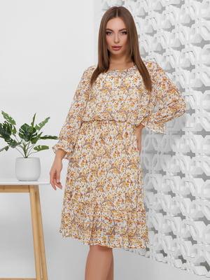 Платье бежевое в цветочный принт | 5444112