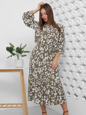 Платье оливкового цвета в цветочный принт | 5444120