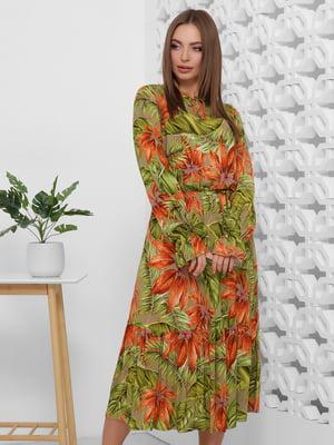 Платье зеленое в цветочный принт | 5444121