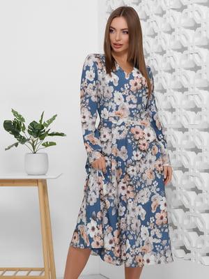 Платье синее в цветочный принт | 5444123