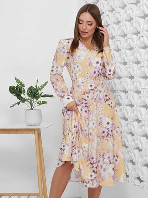 Сукня жовта в квітковий принт | 5444124