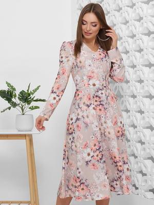 Сукня бежева в квітковий принт | 5444125