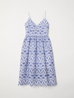 Платье бело-синее с орнаментом | 5441548