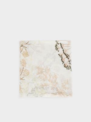 Шарф молочного цвета в цветочный принт | 5442970