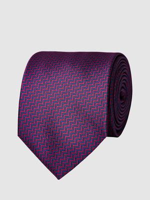 Галстук фиолетовый в зигзагообразную полоску | 5444487