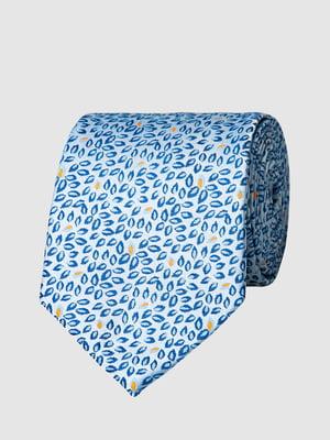 Краватка блакитна в принт | 5444488