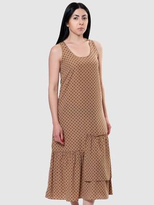 Сукня бежева в горох | 5444559