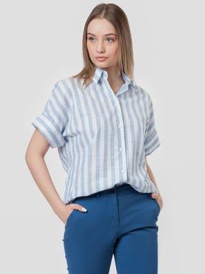 Сорочка блакитна в смужку | 5444570