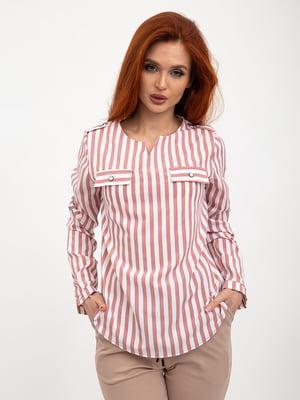 Блуза коричнево-белая в полоску   5445454