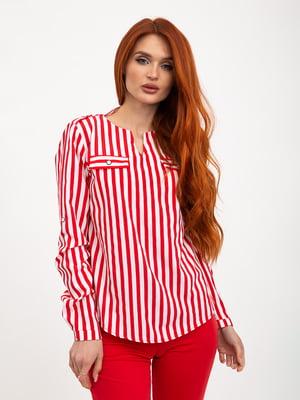 Блуза красно-белая в полоску   5445455