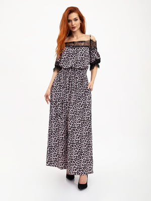 Платье розово-черное с принтом | 5445591
