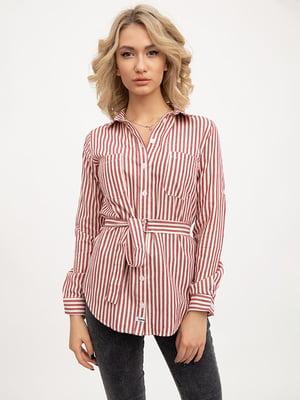 Рубашка серо-красная в полоску | 5445608