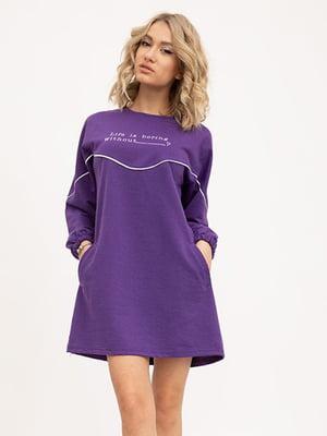 Туника фиолетовая с принтом | 5445649