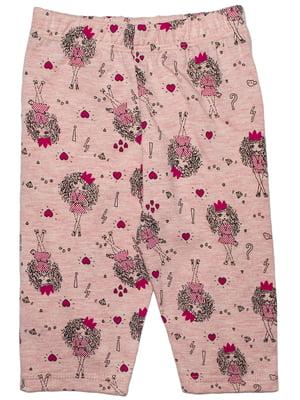 Леггинсы розовые в принт | 5446224