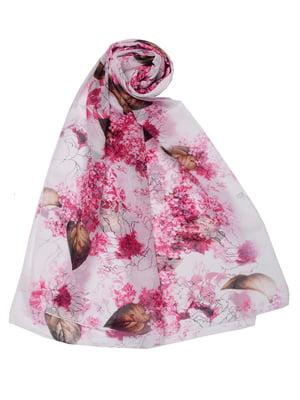 Шарф розовый в цветочный принт | 5446358