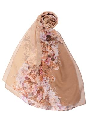 Шарф рожевий в квітковий принт | 5446360
