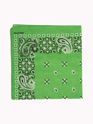 Бандана зелена в принт | 5446391
