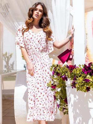 Сукня біла в квітковий принт | 5447122