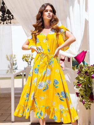 Сукня жовта в квітковий принт | 5447123