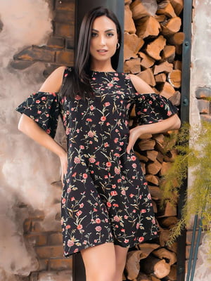 Сукня чорна в квітковий принт | 5447127