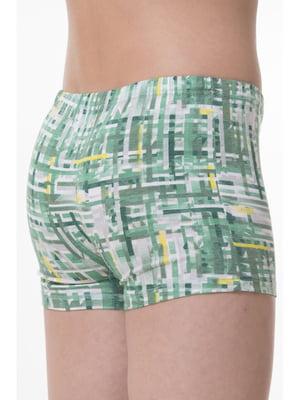 Трусы-шорты зеленые с принтом   5441231