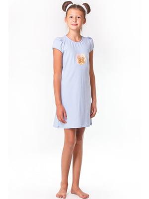 Рубашка ночная голубая с принтом | 5440814