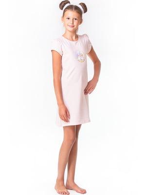 Рубашка ночная розовая с принтом | 5440815