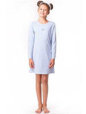 Рубашка ночная голубая с декором | 5440817
