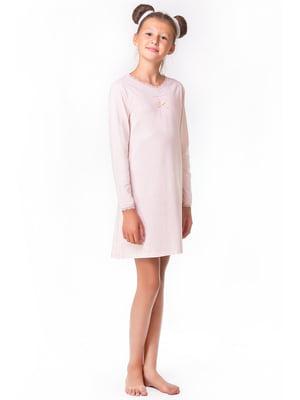 Рубашка ночная розовая с декором | 5440818