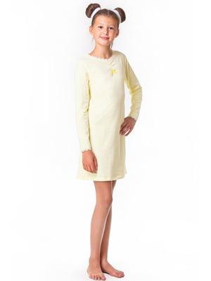 Рубашка ночная желтая с декором | 5440819