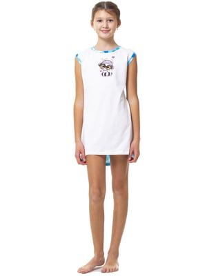 Рубашка ночная бело-голубая с принтом и в горошек | 5440821