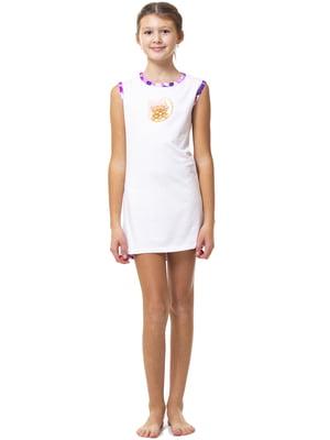 Рубашка ночная бело-фиолетовая с принтом и в горошек | 5440823