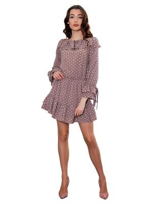 Платье кофейного цвета в горох   5447822