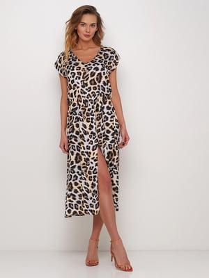 Платье бежевое с леопардовым принтом | 5448770