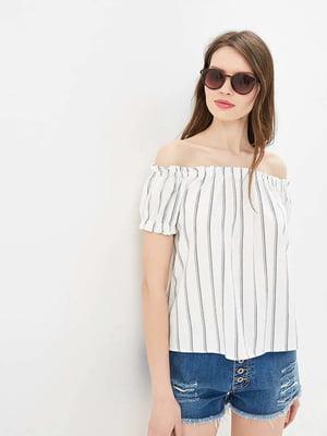 Блуза біла у смужку | 5449222