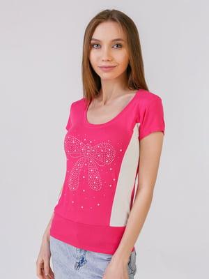 Футболка розово-белая с декором   5441552