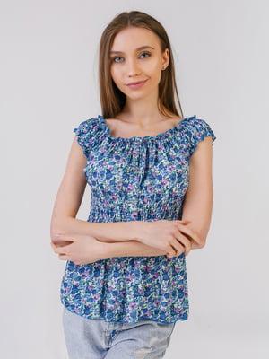 Блуза синьо-біла в принт | 5441580