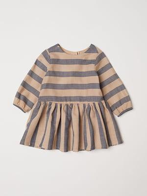 Сукня сіро-бежева в смужку   5450925