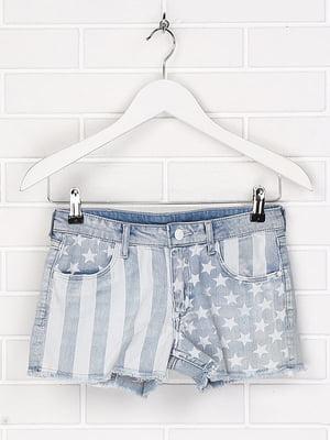Шорти джинсові блакитного кольору з принтом | 5450960
