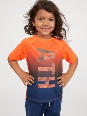 Футболка спортивна помаранчево-синя з принтом | 5450969