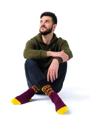 Носки бордовые с рисунком | 5452597