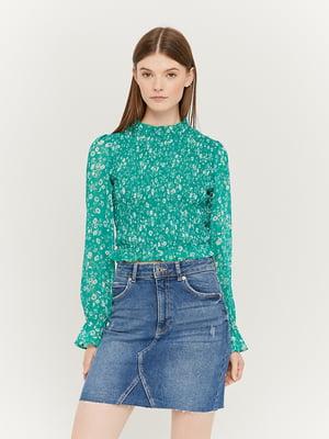 Блуза зелена з принтом | 5454281