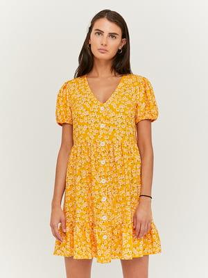 Сукня жовта з принтом | 5454290