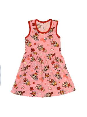 Сукня рожева з принтом   5454531